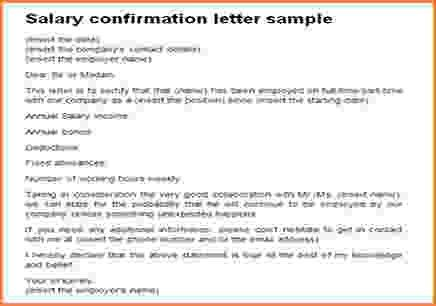8+ confirmation of employment and salary letter | Simple salary slip