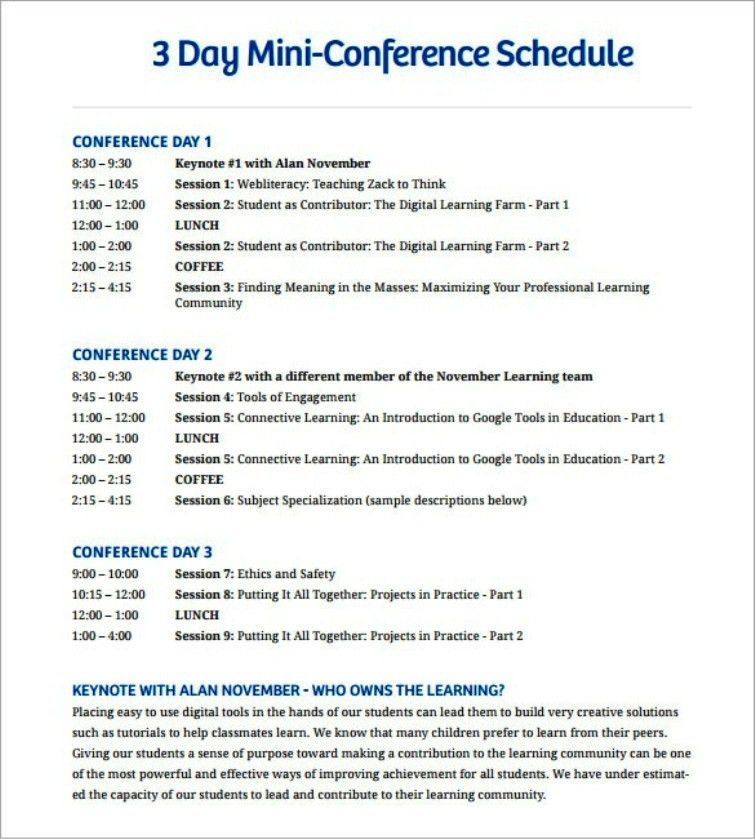 Fabulous 3 Days Mini Conference Schedule Template PDF | TemplateZet