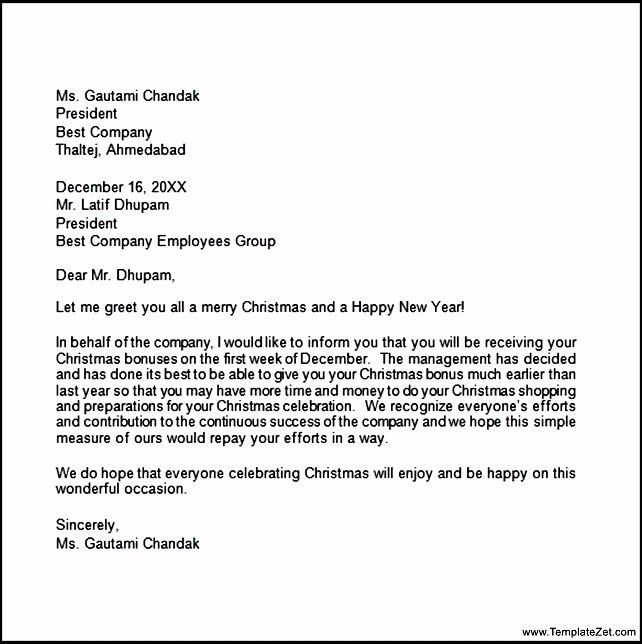 Christmas Bonus Letter | TemplateZet