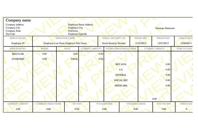 NEAT paystub paycheck template - PayCheck Stub Online .com