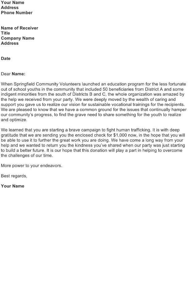 Fundraising Letter Sample - Download FREE Business Letter ...