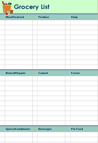 Grocery list with categories (2 per page) - Office Templates