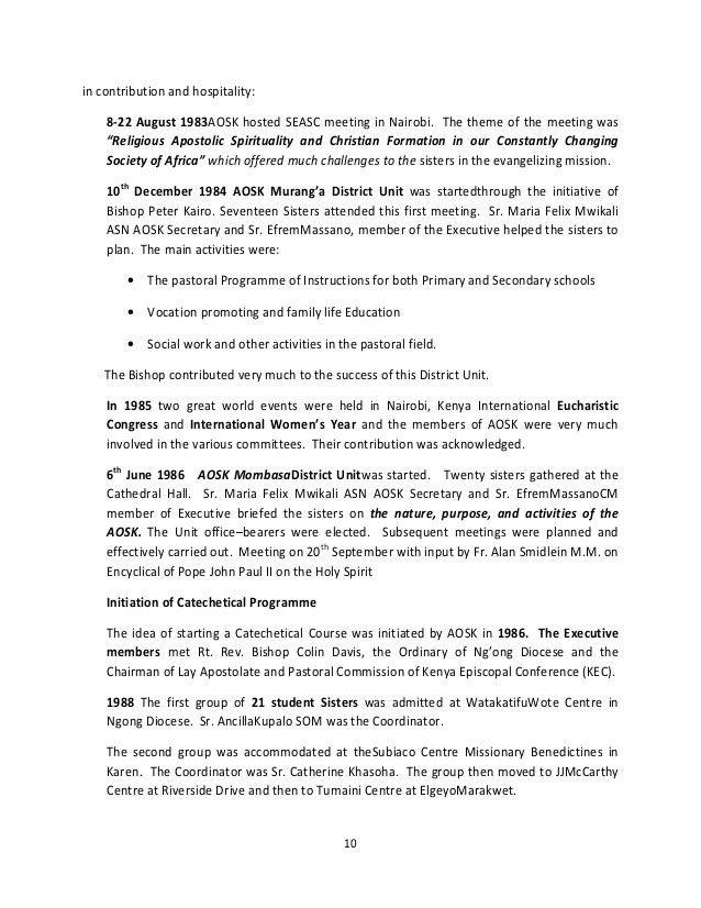 STORY OF ASSOCIATION OF SISTERHOODS OF KENYA 2012