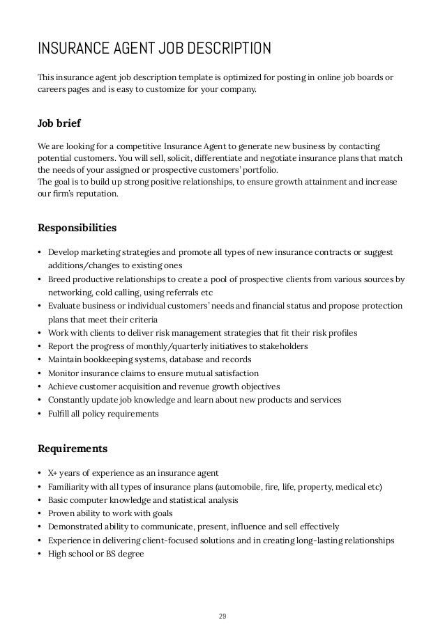 insurance agent job description for resume agent resume example