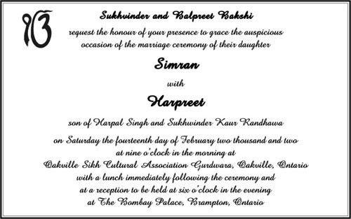 Sikh Wedding Cards Wordings | Sikh Wedding Invitation Wordings