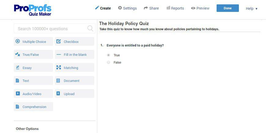Create Online Quiz - Make a Quiz with ProProfs Quiz Creator