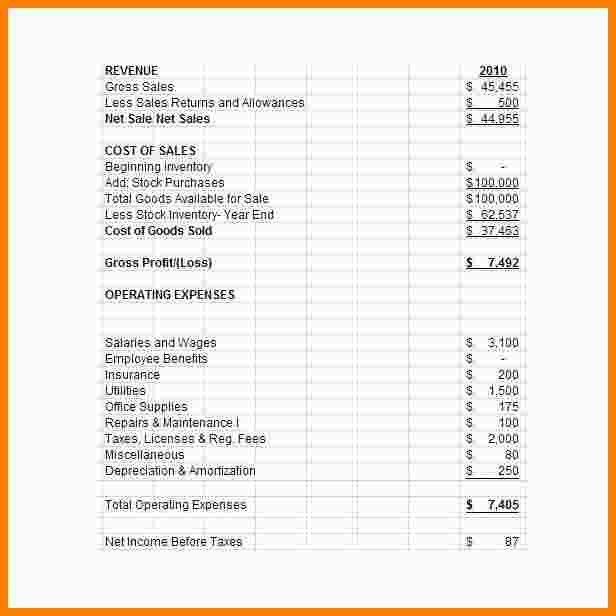 5+ income statement template | Statement Information