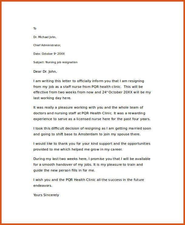 nursing resignation letter informatin for letter throughout ...