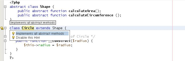 Hint: Implement all abstract methods   Oracle NetBeans for PHP Blog