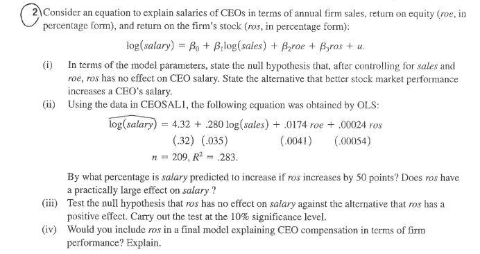 Consider An Equation To Explain Salaries Of CEOs I... | Chegg.com