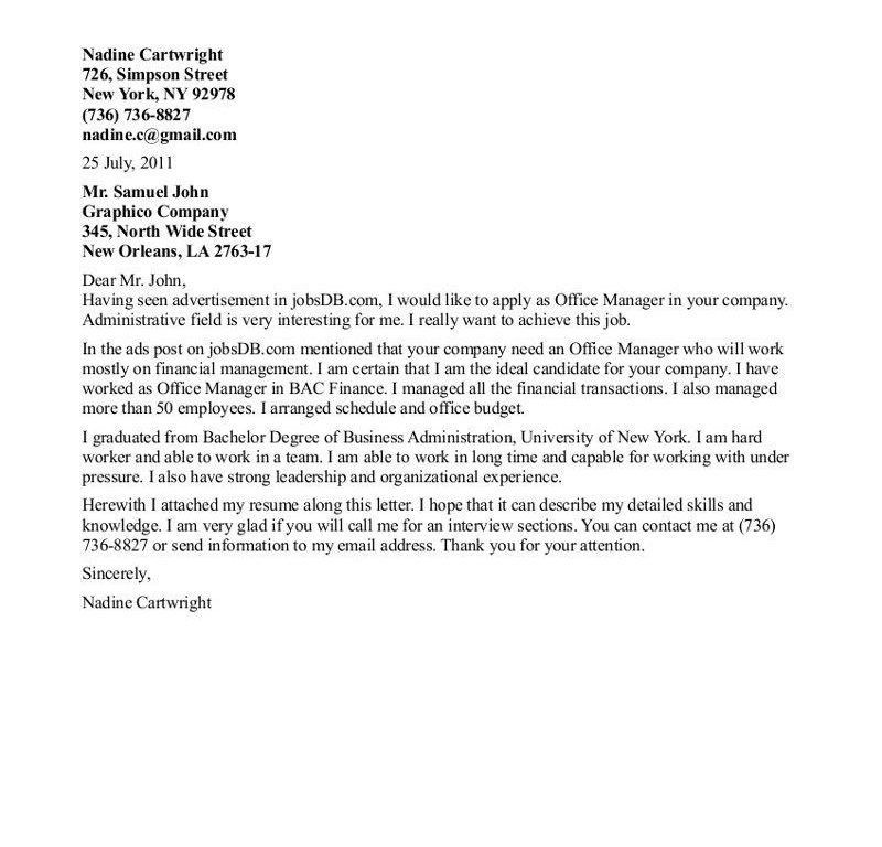 Pretty Inspiration Ideas Office Manager Cover Letter 14 Letter ...