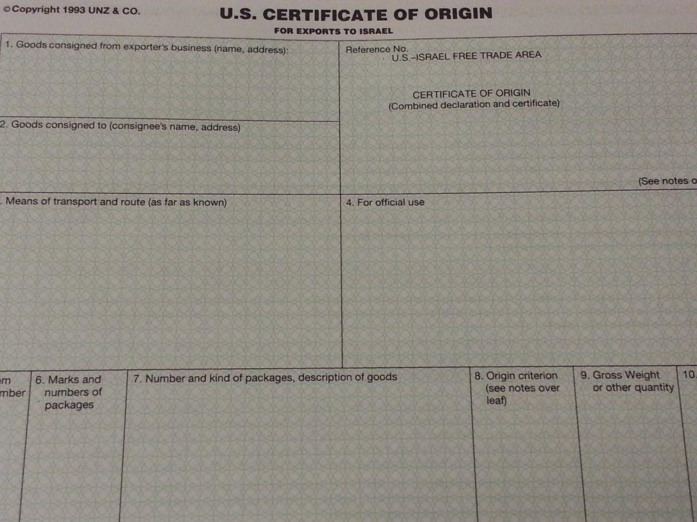 Certificate of Origin — America-Israel Chamber of Commerce Chicago