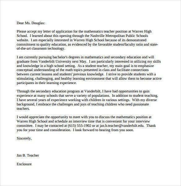 secondary teacher cover letters