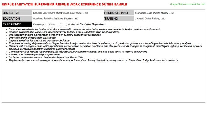 Sanitation Supervisor Resume Sample