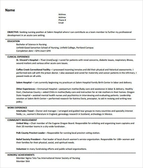 Sample Nursing Resume - 8+ Download Free Documents in PDF , Word , PSD