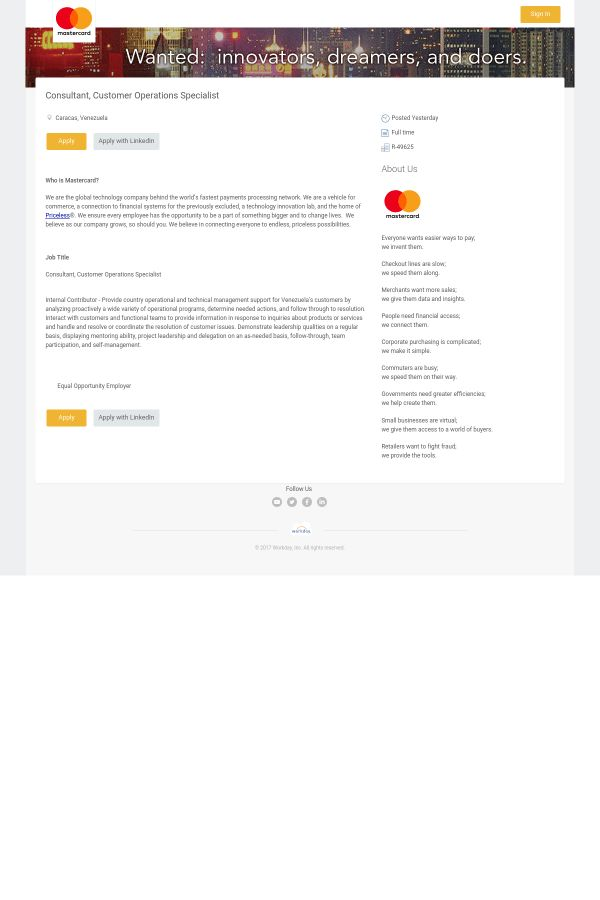 Consultant, Customer Operations Specialist job at Mastercard in ...