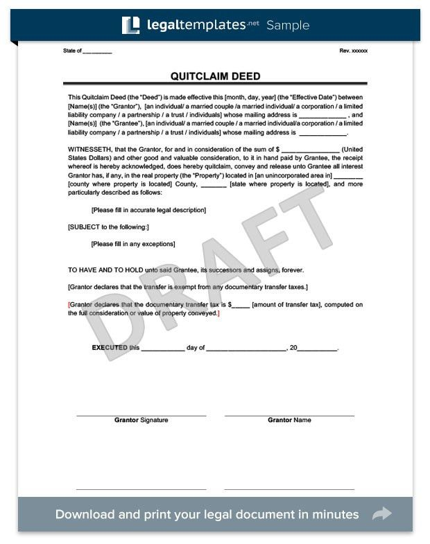 Create a Quitclaim Deed in Minutes | Legal Templates