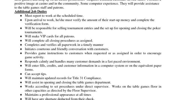 Cashier Job Description Resume Table Games Cashier Job Duties Of A .
