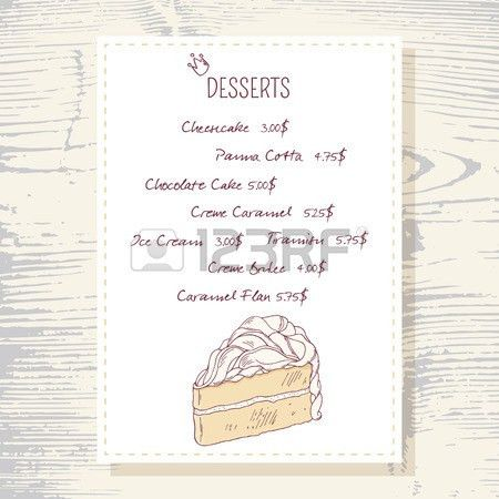 Dessert Menu Template With Sweet Vanilla Cake In Vector. Doodle ...