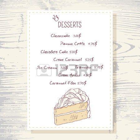 Dessert Menu Template With Sweet Vanilla Cake In Vector. Doodle ...