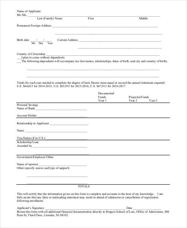 Sample Affidavit of Support Form - 9+ Examples in PDF, Word