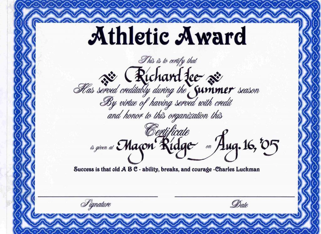 Sport Certificate Templates For Word Reference Letter Template ...