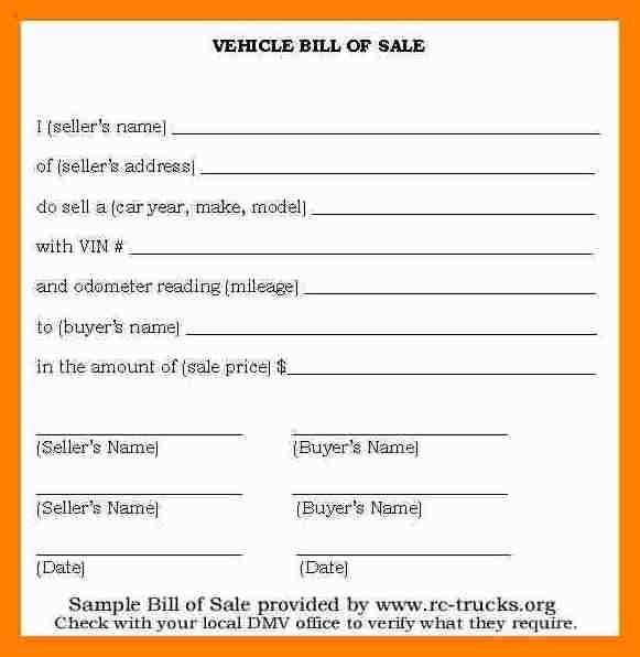 BILL OF SALE Without Warranties