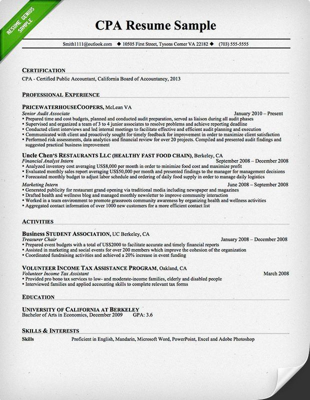 Crafty Accountant Resume Sample 14 Successful Accounting Samples ...
