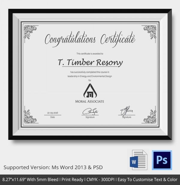 Congratulations Certificate Template - 10+ Word, PSD, Documents ...