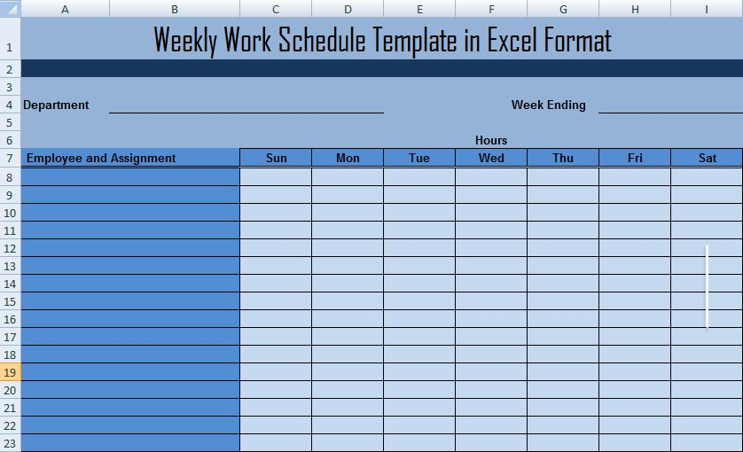 Weekly Work Schedule Template in Excel Format - Microsoft Project ...