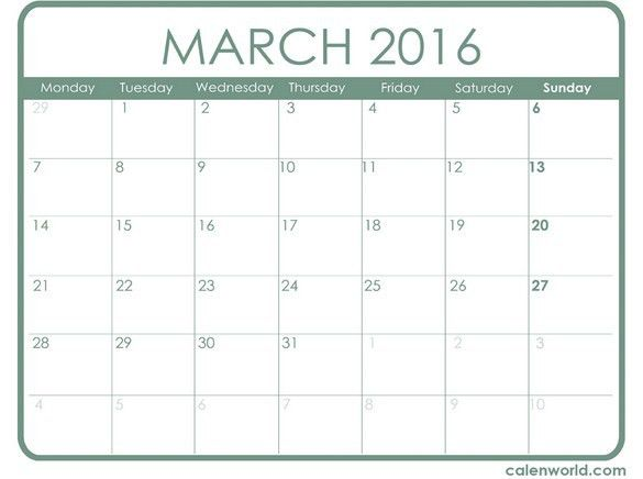 March 2016 Month Calendar Template | Calendar Picture Templates