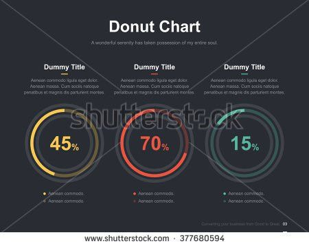 Flat business presentation vector slide template with pie chart ...
