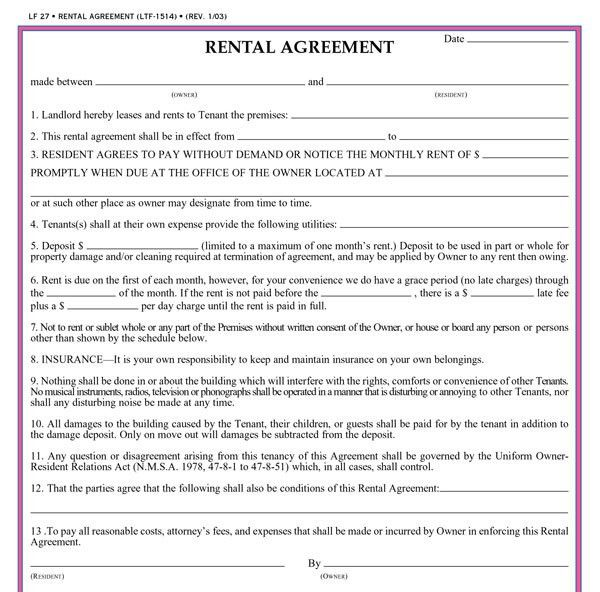 12 Best Images of Simple Rental Agreement Form - Simple Rental ...