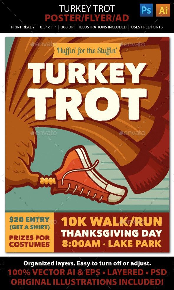 TURKEY TROT Walk / Run Event Poster, Flyer or Ad | Brochures ...