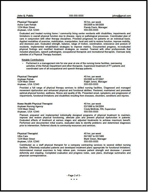 Federal Physical Therapist Resume Sample - The Resume Clinic