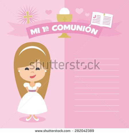 First Communion Invitation Template Blonde Girl Stock Vector ...
