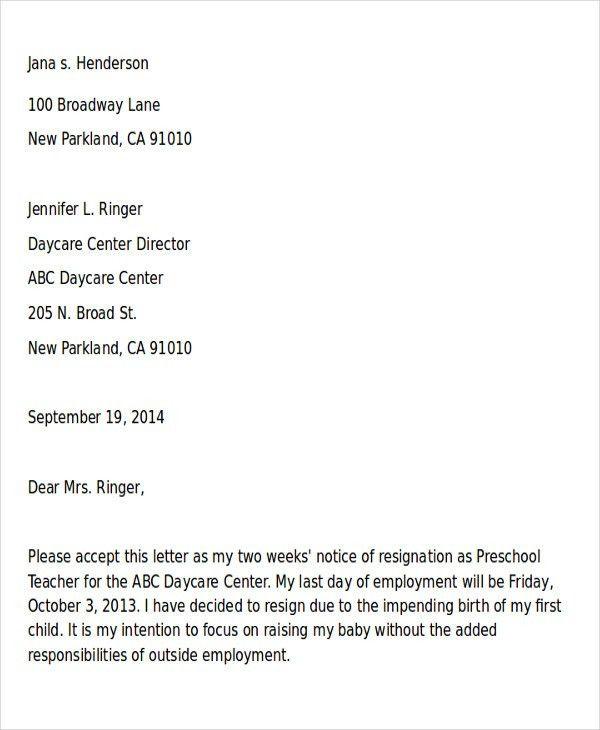 Sample Of Resignation Letter. Professional Resignation Letter ...