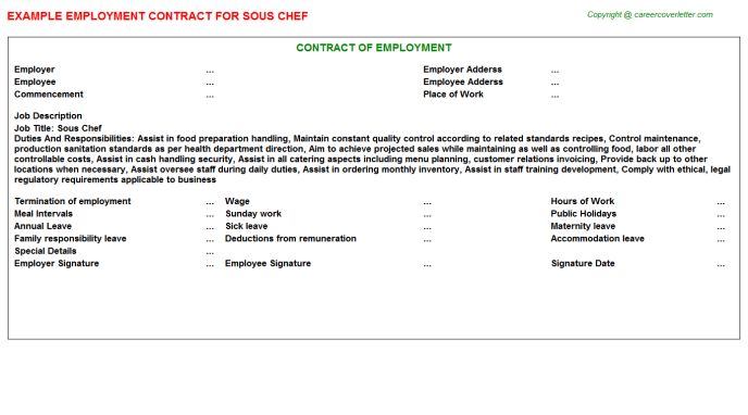 Sous Chef Employment Contracts