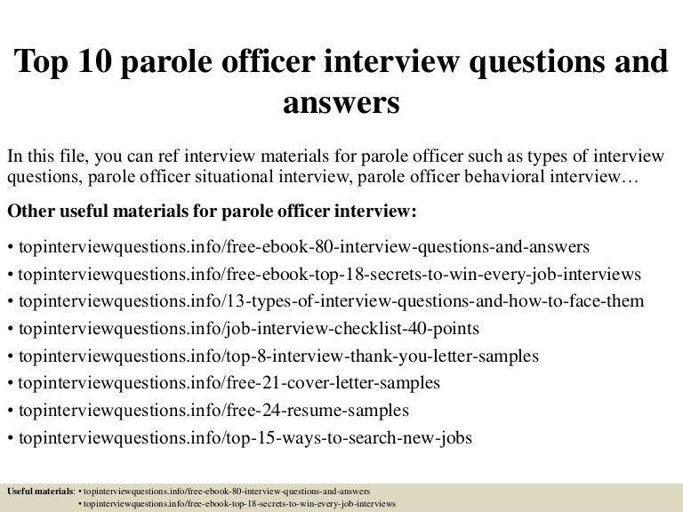 Top 10 parole officer interview questions and answers