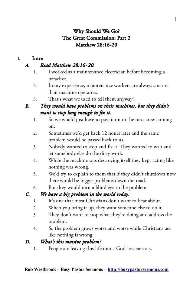Sermon Outline: Matthew 28:16-20
