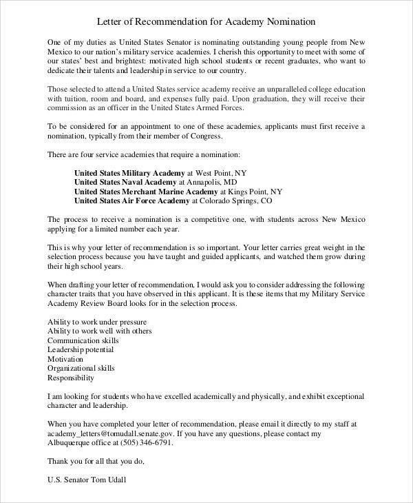 6+ Sample Air Force Recommendation Letter - Free Sample, Example ...