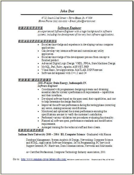 Software Engineer Resume Sample, Occupational:examples,samples ...