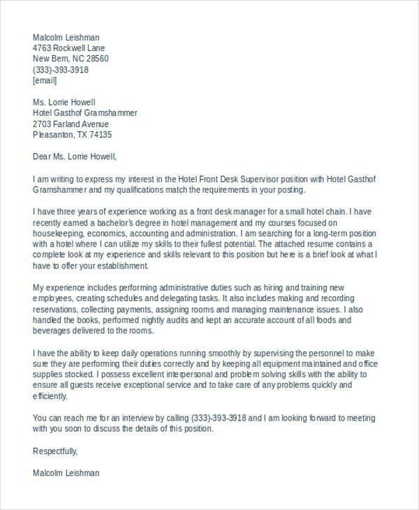 11+ Front Desk Cover Letter Templates - Free Sample, Example ...