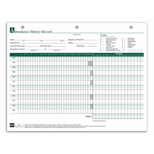 Free Printable Attendance Sheet Template Sample for Employees ...