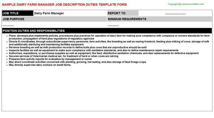 Dairy Farm Manager Job Title Docs