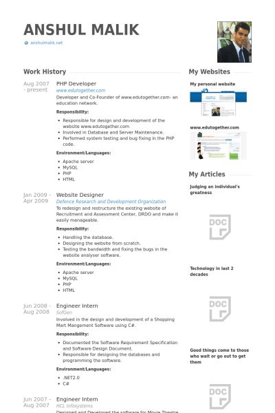 Php Developer Resume samples - VisualCV resume samples database