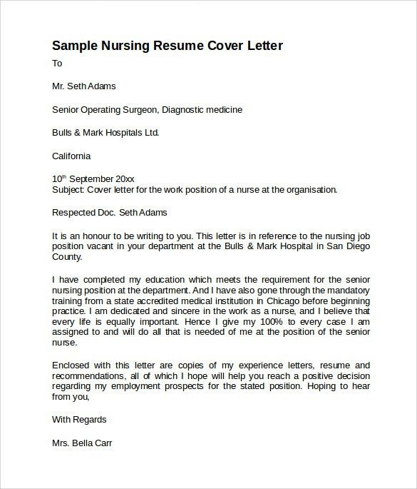 Cover Letter For Nursing Resume [Nfgaccountability.com ]