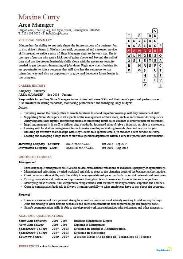 Area manager CV template, management resume, managerial jobs, CV ...