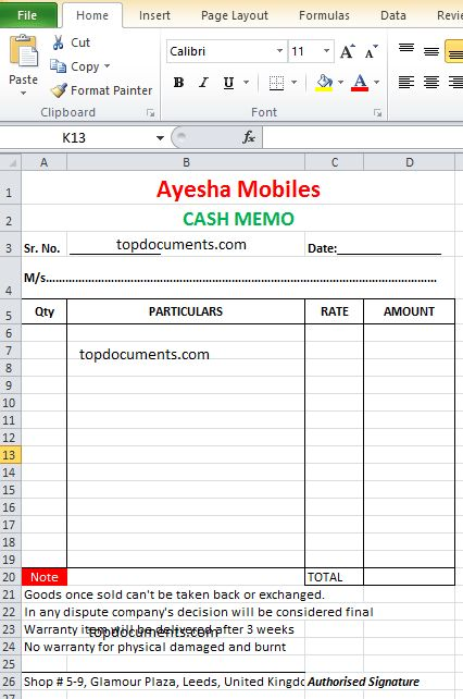 Cash Memo Format for Mobile Shop – Top Docx