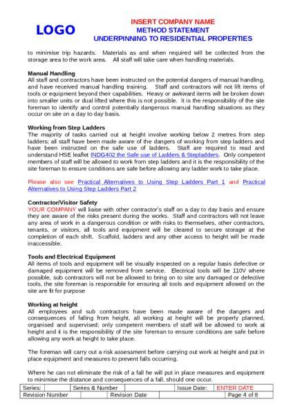 Underpinning Method Statement Example to Download